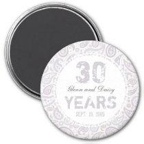 30th Pearl Wedding Anniversary Paisley Pattern Magnet