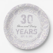 30th Pearl Wedding Anniversary Paisley Pattern Paper Plate
