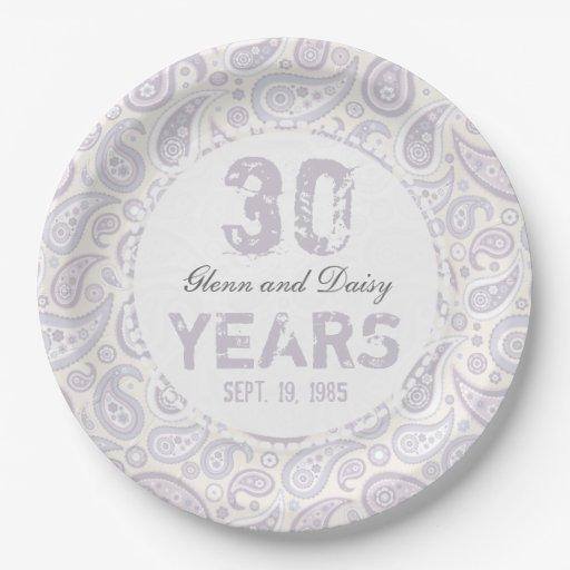 30th Pearl Wedding Anniversary Paisley Pattern Paper Plate Zazzle