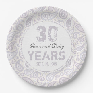 30th Pearl Wedding Anniversary Paisley Pattern 9 Inch Paper Plate