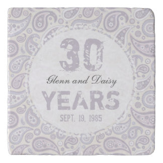 30th Pearl Wedding Anniversary Paisley Pattern Trivet