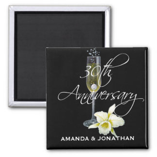 30th Pearl Wedding Anniversary Party Gift 2 Inch Square Magnet