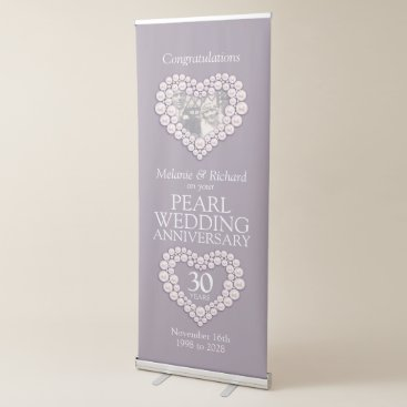 Wedding Themed 30th pearl wedding anniversary photo heart retractable banner