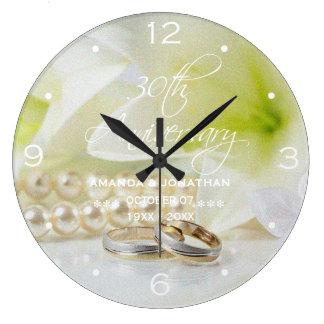 30th Pearl Wedding Anniversary St.Joseph Lily Large Clock