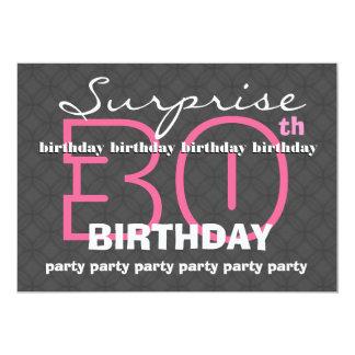 30th SUPRISE Birthday Modern Charcoal Circles W187 Card