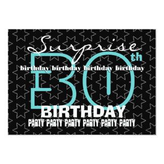 30th SURPRISE Birthday Aqua with Black White Stars Card