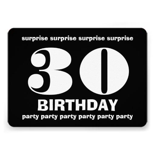 30th Surprise Birthday Black and White V9 Custom Invites