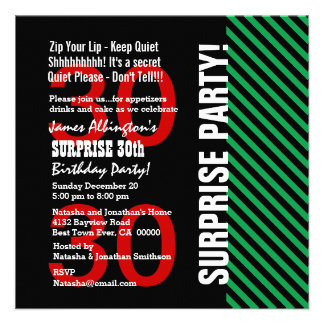 30th Surprise Birthday Black Red Green Stripes V02 Personalized Announcement