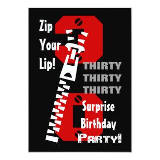 30th SURPRISE Birthday Black Red White B473 Card