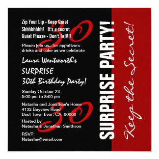 30th SURPRISE Birthday Black Red White Felt Paper Card