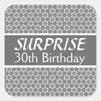 30th SURPRISE Birthday Black Silver Red Square Sticker