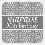 30th SURPRISE Birthday Black Silver Red Sticker