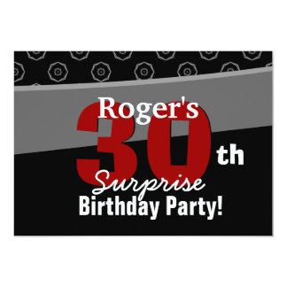 30th Surprise Birthday Black White Horizontal Card
