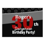 30th Surprise Birthday Black White Horizontal 5x7 Paper Invitation Card