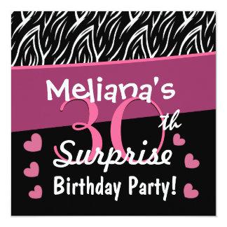 30th Surprise Birthday Black White Pink Zebra B02 Card
