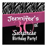 """30th Surprise Birthday Black White Zebra Flames 5.25"""" Square Invitation Card"""
