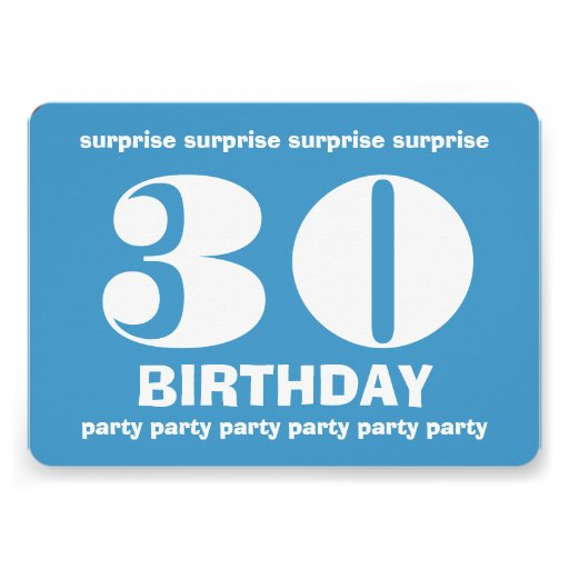 30th Surprise Birthday Blue and White V8 Personalized Invitations