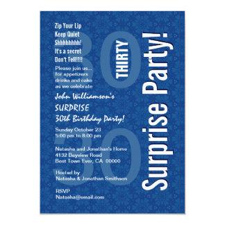 30th Surprise Birthday Blue Geometric Star Flowers 5x7 Paper Invitation Card