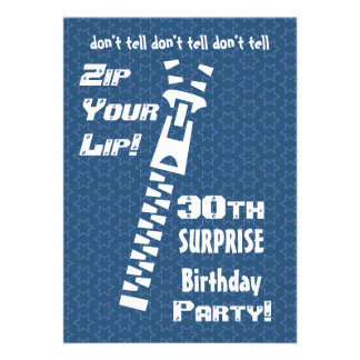 30th SURPRISE Birthday Blue Stars Zip Your Lip Personalized Invitation