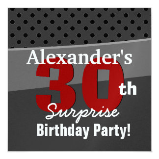 30th Surprise Birthday Charcoal and Red Modern Custom Invites