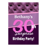 30th Surprise Birthday Elegant Peacock Feathers 5x7 Paper Invitation Card