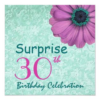 30th SURPRISE Birthday Feminine Squares F30Z Invitation