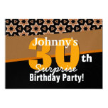 30th Surprise Birthday Gold and Black Stars W1909 5x7 Paper Invitation Card