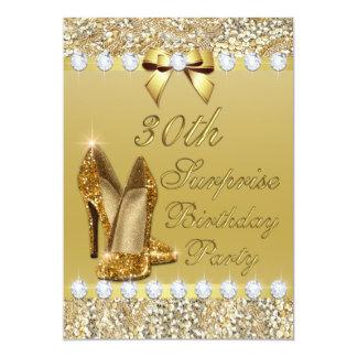 30th Surprise Birthday Gold Heels Sequins Diamonds Card