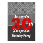 30th Surprise Birthday Gray Red White W1916 5x7 Paper Invitation Card