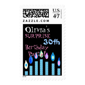 30th SURPRISE Birthday Invitation Blue Candles Postage
