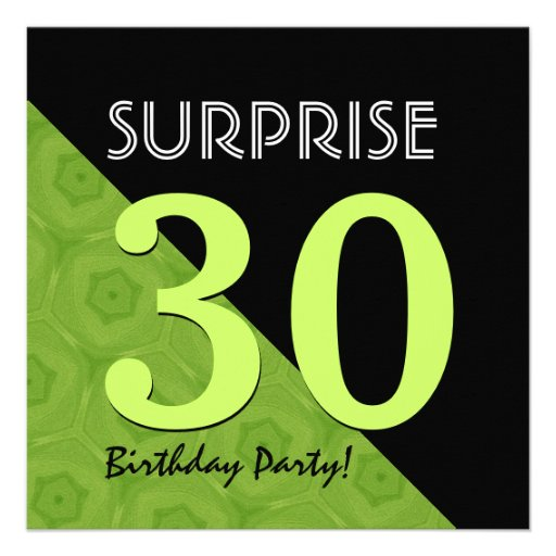 30th Surprise Birthday Lime Green and Black V06E Personalized Invites