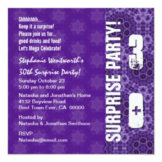 30th Surprise Birthday Modern Purple Square Invitation