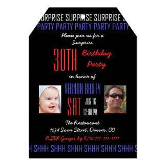 30th Surprise Birthday Party for Men Your Photos 5x7 Paper Invitation Card