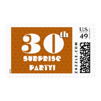 30th Surprise Birthday Party Gold and White W1264 Postage