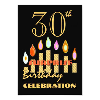 30th SURPRISE Birthday Party Gold Candles Invite