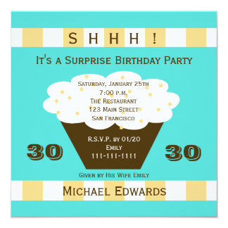 30th Surprise Birthday Party Invitation Cupcake