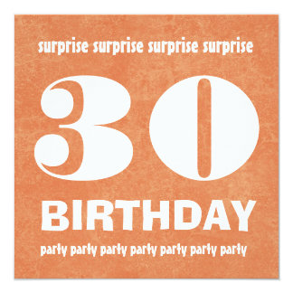 30th Surprise Birthday Party Modern Grunge Card