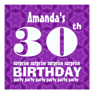 30th SURPRISE  Birthday Party Purple For Her W151 Card