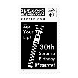 30th SURPRISE Birthday Party - Zip Your Lip! Postage Stamp
