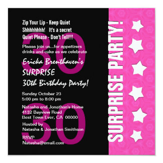 30th Surprise Birthday Pink Black with Stars E30C Invitation