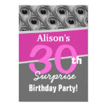 30th Surprise Birthday Silver Pink Peacock W1908 5x7 Paper Invitation Card