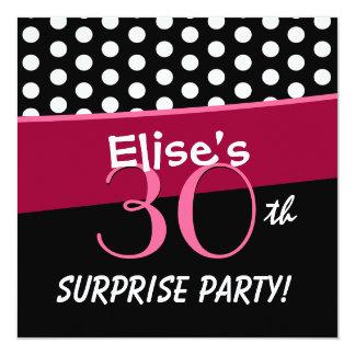 30th Surprise Party Polka Dot Pattern Square Invitation