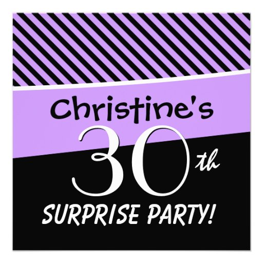 30th Surprise Party Purple and Black Stripes V13A Invites
