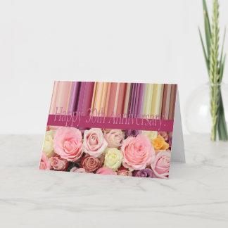 30th Wedding Anniversary Card -Pastel roses stripe