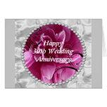 30th Wedding Anniversary Card, Pearls & Pink Flora