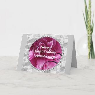 30th Wedding Anniversary Card, Pearls & Pink Flora Card