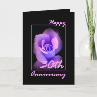 30th Wedding Anniversary Card with Purple Rosebud