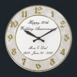 """30th Wedding Anniversary Clock<br><div class=""""desc"""">A Digitalbcon Images Design featuring a Gold Satin and Damansk design and color theme with a variety of custom images, shapes, patterns, styles and fonts in this one-of-a-kind &quot;30th Wedding Anniversary&quot; Clock. This elegant and attractive design makes the ideal gift for the Anniversary Couple on the special occasion and comes...</div>"""