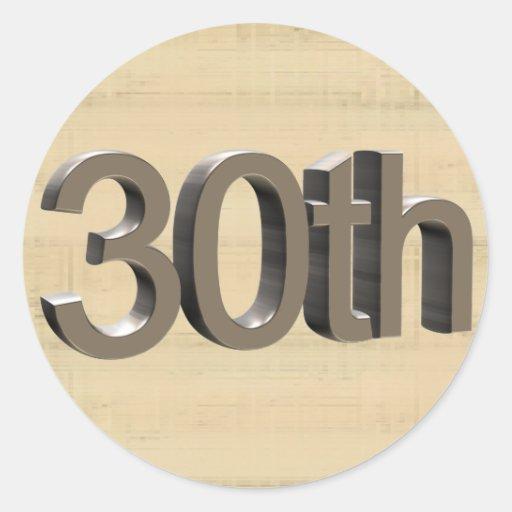 30th Wedding Anniversary Gifts Classic Round Sticker