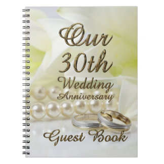 30th Wedding Anniversary Guest Book Gold Pearls